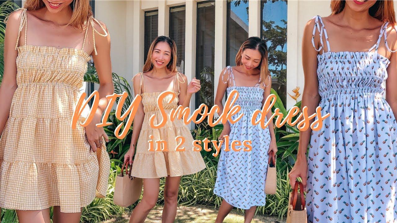 DIY Smock dress in 2 styles   Easy summer dress for beginner   Step by step sewing tutorial