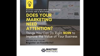 Improve Business Value Webinar - Marketing Nov 2020
