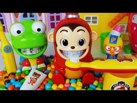 CocoMong! Tooth Brush Play set and Pororo,Crong,Baby Shark teeth toys baby doll play - 토이몽