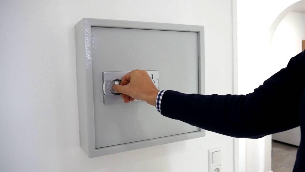 Schlüsselschrank mit Elektronikschloss Zahlenschloss - YouTube