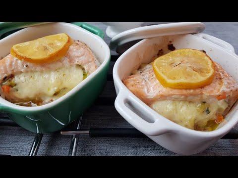 recette-de-saumon-farci-aux-légumes-sauce-crémeuse-au-citron