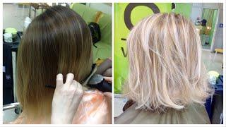 Осветление волос: холодный блондин // Highlights: Cool blonde