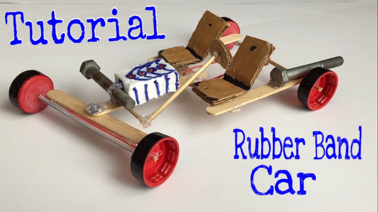how to make a car rubber band powered car tutorial very simple youtube. Black Bedroom Furniture Sets. Home Design Ideas