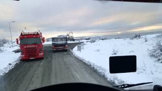 Truck drivning in Sweden in the snow with a Scania R520 Manuel Torsviken tippen.
