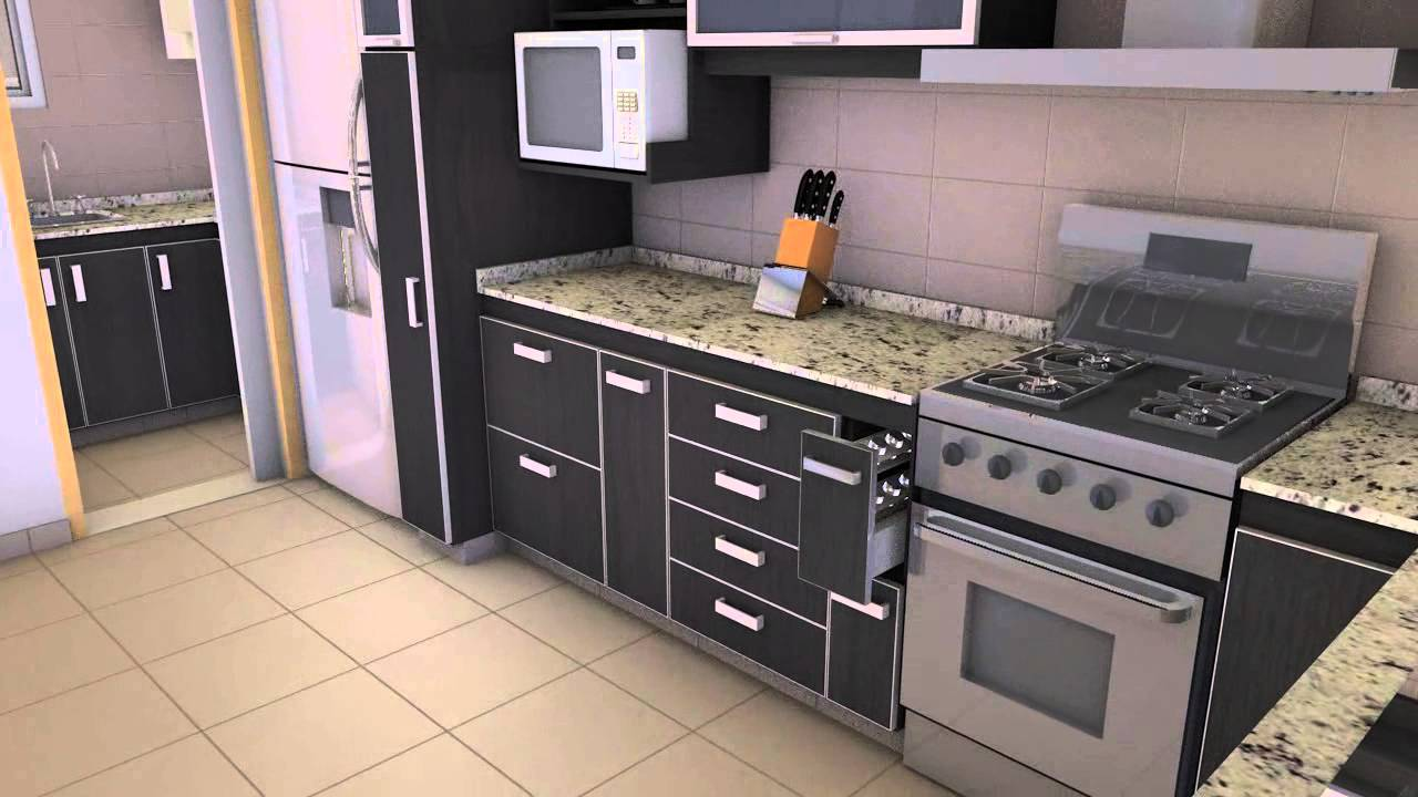 Cocina y lavadero animaci n y render 3d youtube for Cocinas con despensa y lavadero