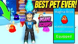 I GOT THE INSANE NEW RAREST PET IN ICE CREAM SIMULATOR WINTER UPDATE!! *MAGMA BRICK* (Roblox)