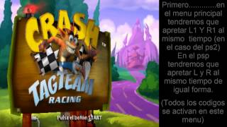 Cheats/Trucos  para crash tag team racing (PSP/PS2)