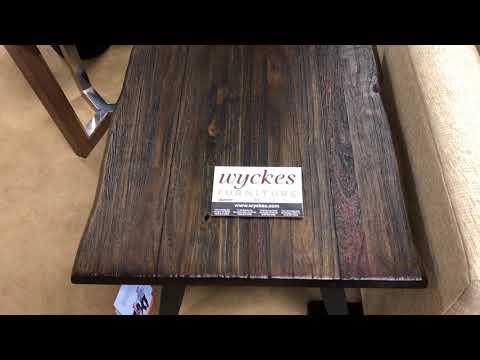 Scott Living 705817 Rustic Wood Live Edge Metal Legs End Table