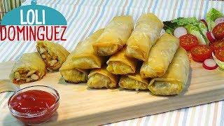 Rollitos crujientes de pollo con verduras. Receta muy fácil con pasta filo. Loli Domínguez