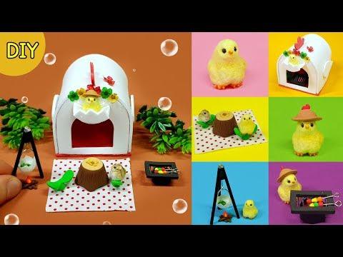 DIY 6 Miniature camping chick set !  - chick , camping kit~
