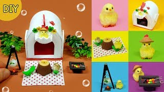 [DIY 6 Miniature camping chick set !  - chick , camping kit~] 미니어쳐 6가지 병아리 캠핑세트 만들기!