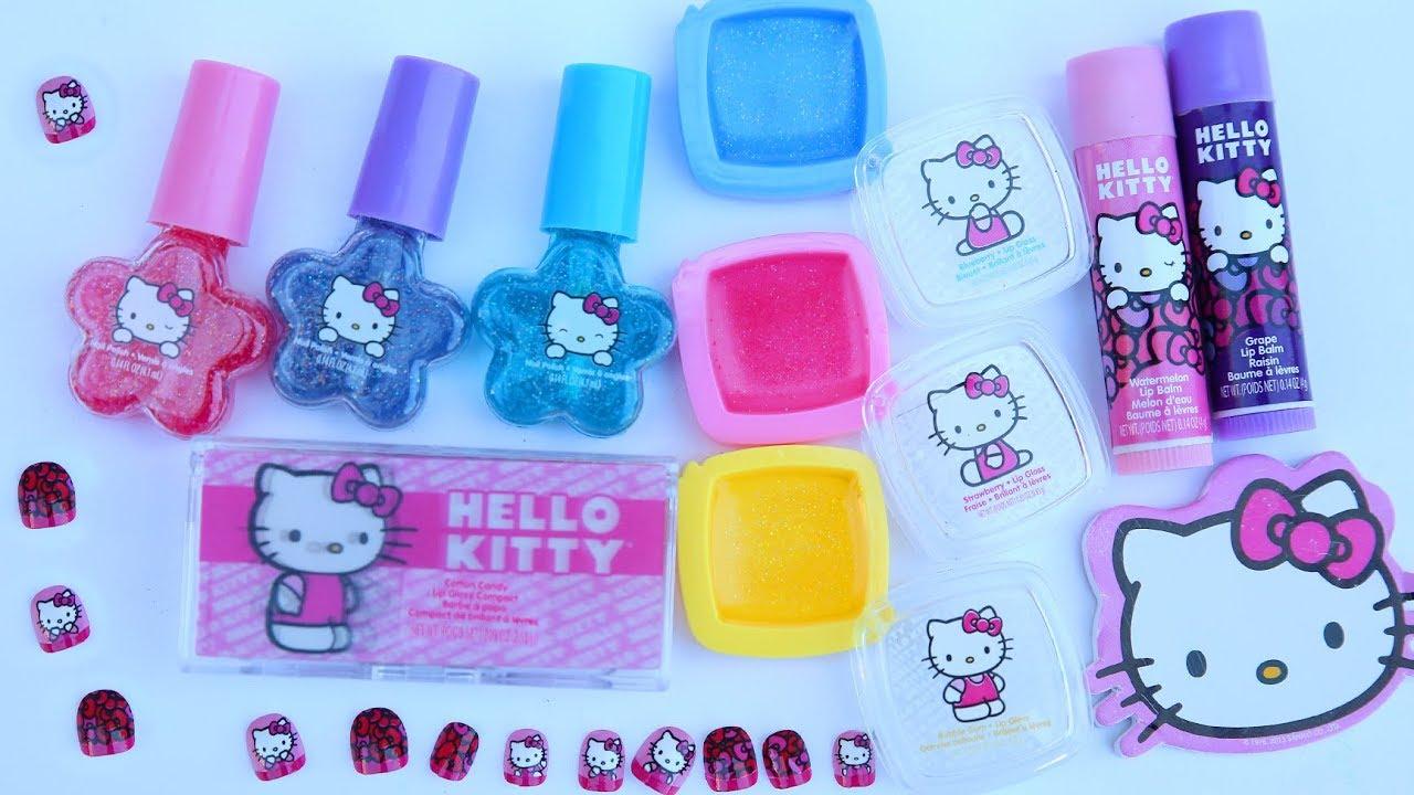 Hello Kitty Cosmetic Kit Super Pack Glitter Nail Polish Lipbalm Kids Maup