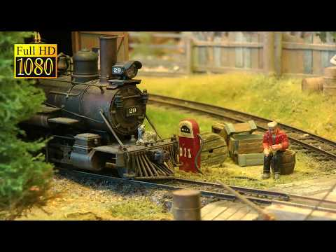 On30 Narrow Gauge Model Railroad Display with Steam Locomotives