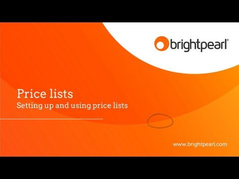 Product Price List Creation | Brightpearl