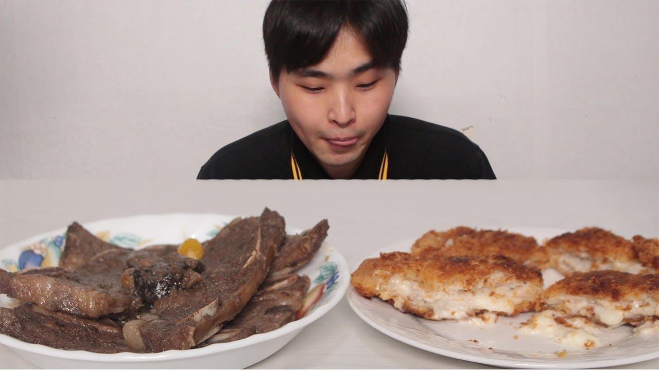 LA 갈비 치즈 돈까스 먹방 [ 푸른 Pureun ] LA Rib Cheese pork cutlet Mukbang ASMR Real Sound Eating Show