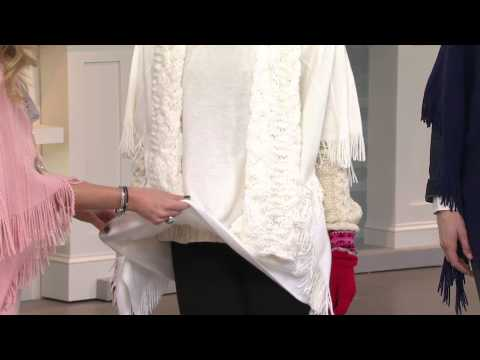 Layers by Lizden Marvelush Cable Knit Fringed Poncho with Stacey Stauffer