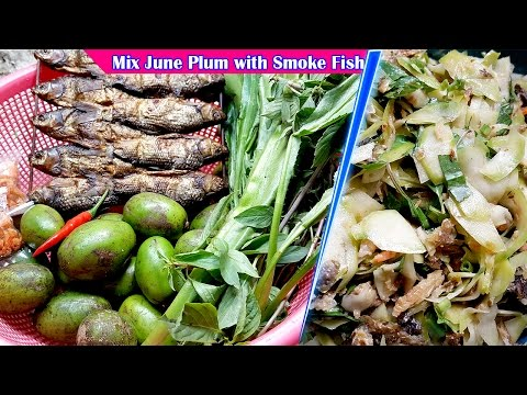 mix-june-plum-with-smoke-fish,-culinary-cooking,-homemade-food