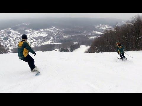 Skiers, boarders storm Greek Peak as CNY's largest ski resort opens for season (video)