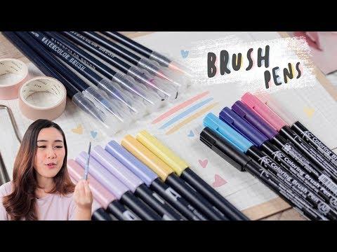 Brush Pens Collection เปิดกรุปากกาหัวบรัช อันไหนเขียนสวยสุด! Peanut Butter