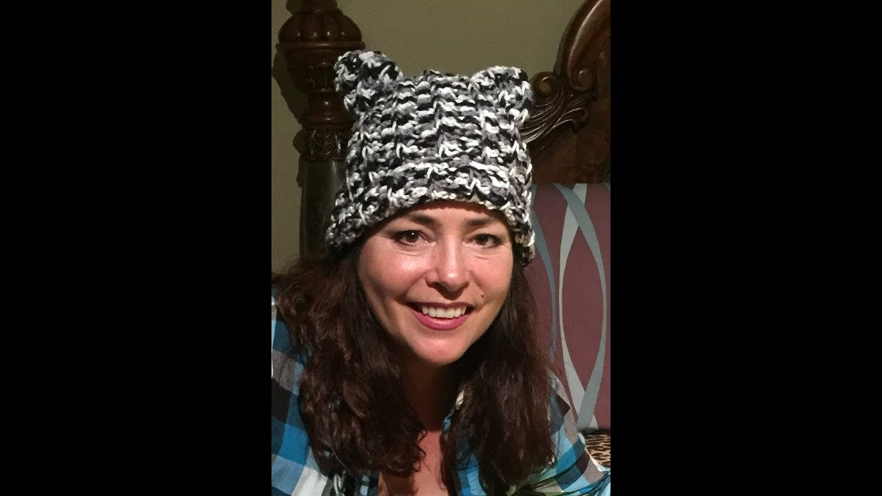 Gorro con orejas de gato a crochet // Kitty cat hat - YouTube