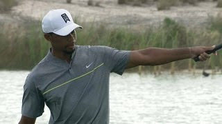 Tiger Woods finds the cup from 35 feet at Hero World Challenge