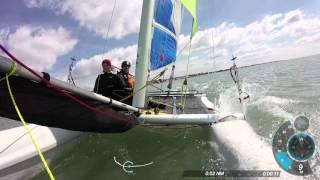 Near capsize on Dart 16 catamaran