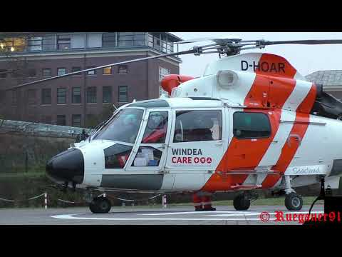 [HD] As 365 Offshore Rescue Helicopter NHC02,DHOAR at Hospital Stralsund