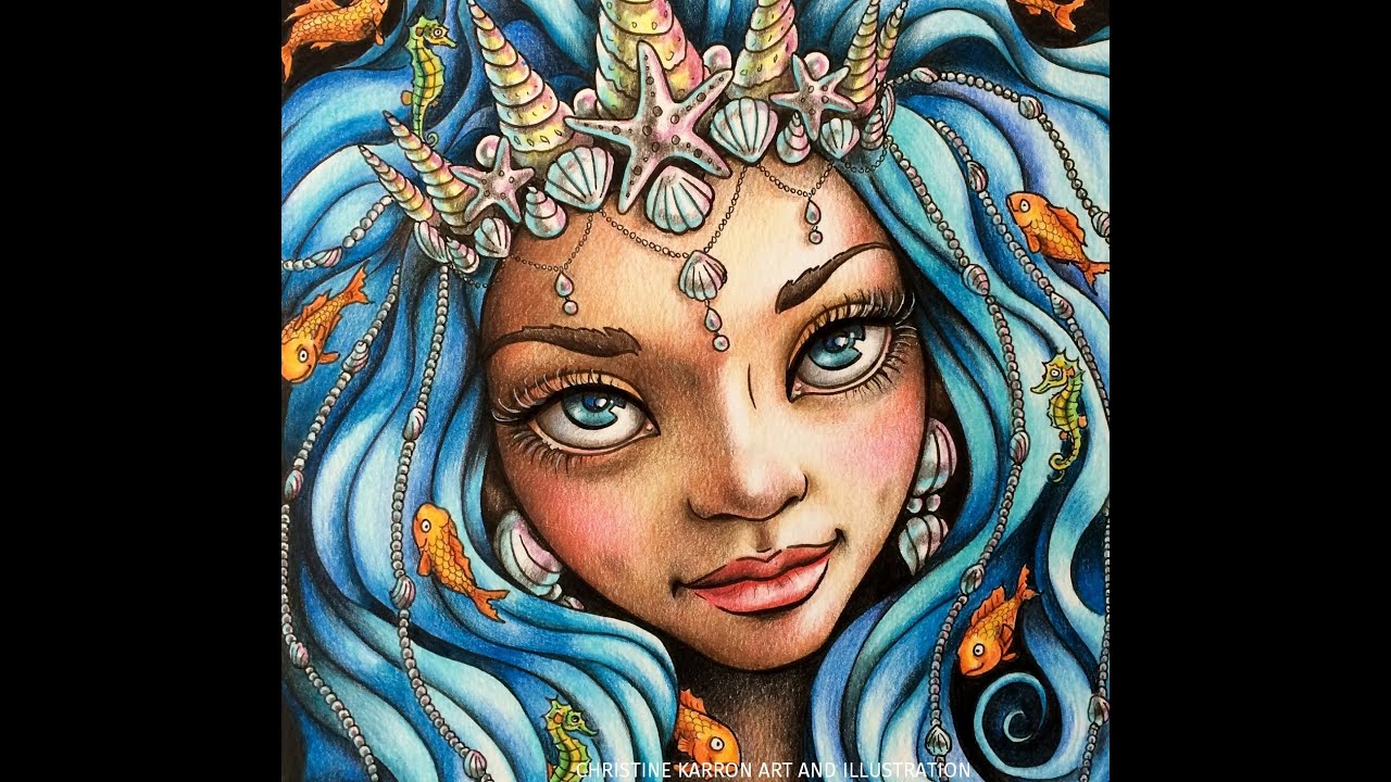 Colored Pencil Illustration Speed Painting Mermaid