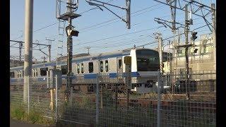 佐貫駅を出発する特急通過待ちをしていた上野東京ライン常磐線下りE531系