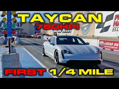 EXCLUSIVE * FIRST REAL 1/4 Mile runs * Porsche Taycan Turbo S * 0-60 MPH in 2.4!