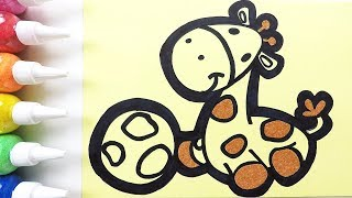 Giraffe coloring & drawing & studying English for kids ㅣ 기린 그리기 색칠하기 영어 공부
