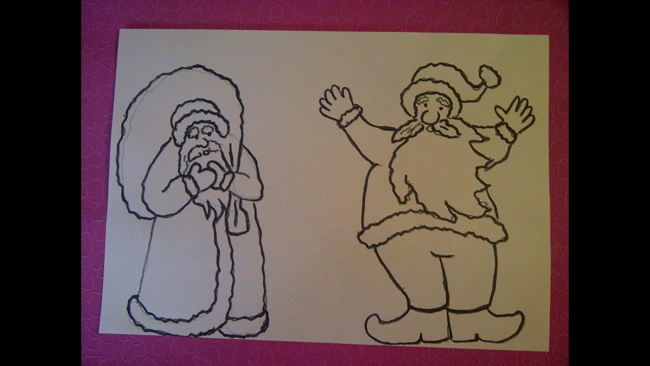 2 Moglichkeiten Weihnachtsmanner Zu Zeichnen Weihnachtskarten