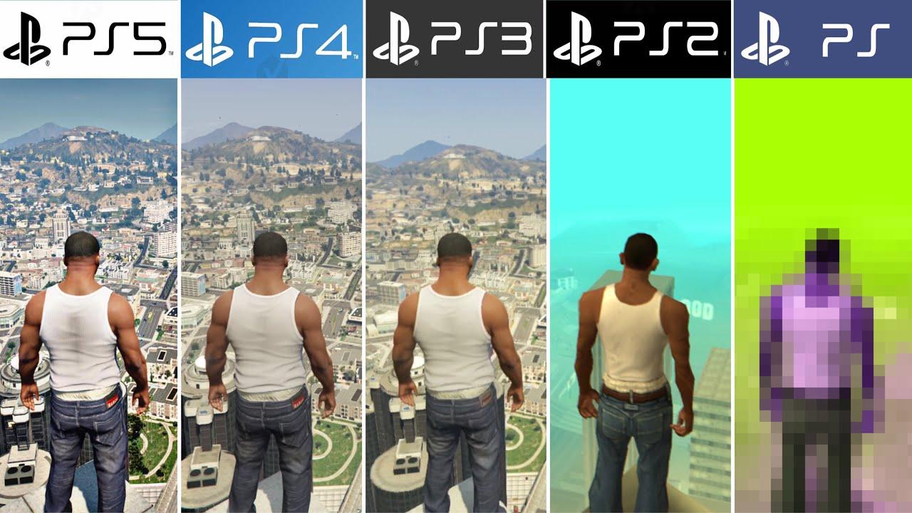 PS5 vs PS4 vs PS3 vs PS2 vs PS1 | GTA - Comparación de Generaciones y Gráficos (4k 60fps)