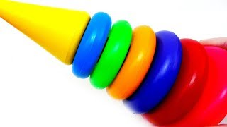 Collecting Colors Stacking Rings with cars Video for Kids Toy Review