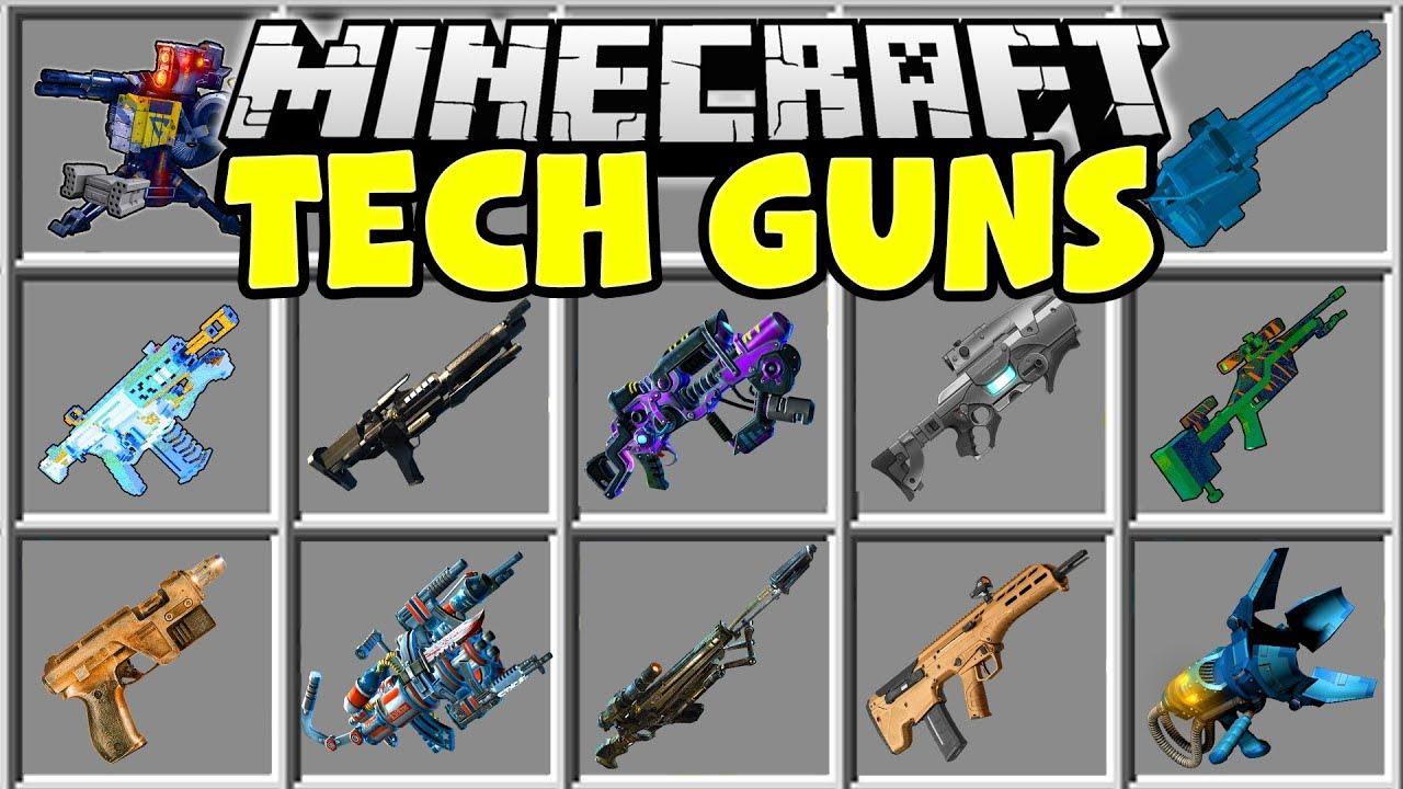 Minecraft TECH GUNS MOD NUKE LAUNCHERS ALIEN BLASTERS