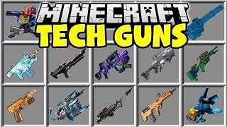 Minecraft TECH GUNS MOD | NUKE LAUNCHERS, ALIEN BLASTERS, FLAMETHROWERS & MORE!!