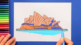 How to draw and color the Sydney Opera House