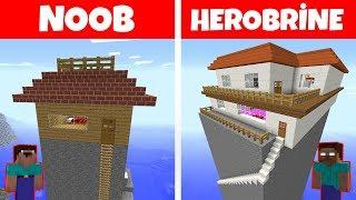 NOOB VS HEROBRİNE (Dağ evi yapmak) - Minecraft
