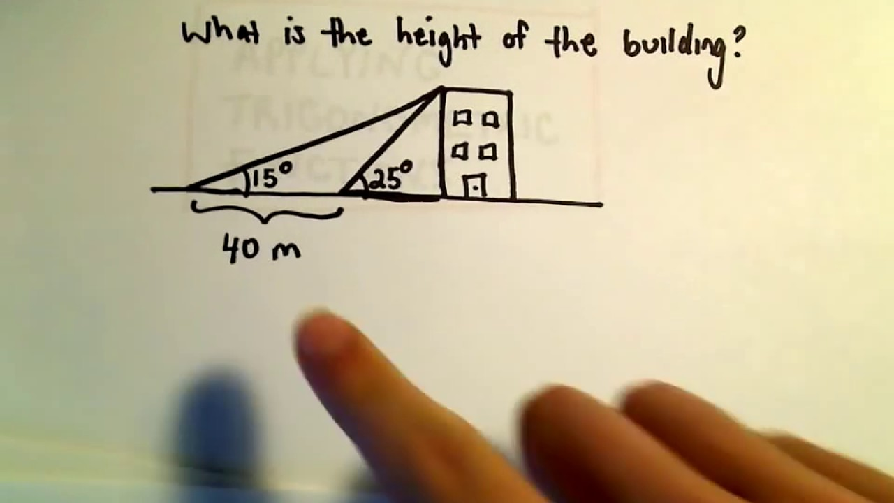 Trigonometry word problem finding the height of a for Finding a builder