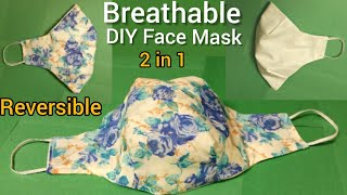 New Design Breathable Fabric Face Mask Sewing Tutorial Easier to Breath Reversible Summer Face Mask