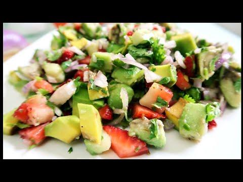 Avocado Salad recipe | Avocado Strawberry Salsa a healthy salad for weight loss