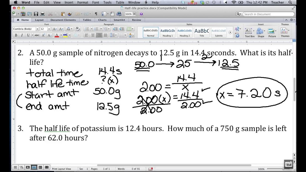 Video 10 - Atomic Structure - Half Life Notes & In Class Practice