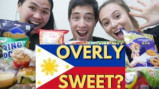 FILIPINO SNACKS & DESSERTS tried by CANADIANS | Bibingka, Kutsinta, Shing-A-Ling, Pilipit, Chuckie