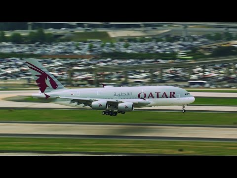 Qatar Airways Airbus A380 Inaugural Landing in Atlanta