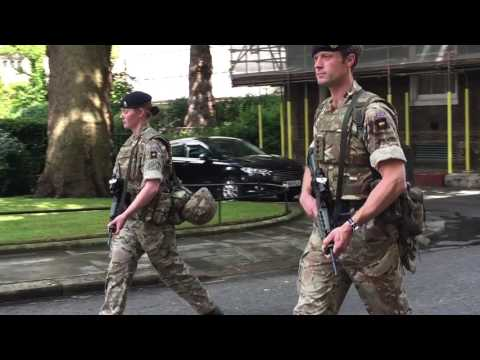 Armed soldiers patrol Downing Street following Manchester terror attack
