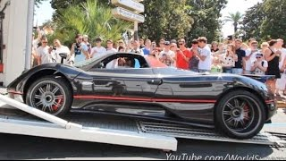 Pagani Zonda F Roadster Delivery in Cannes! REVVING HARD For the Crowd!