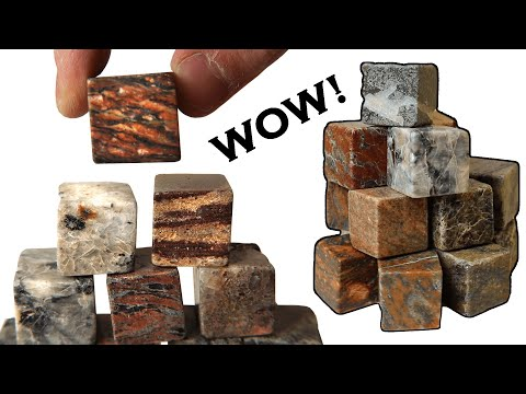 Cutting a dozen different rocks into cubes and polishing them so that you can see the different textures and mineral faces in 3...