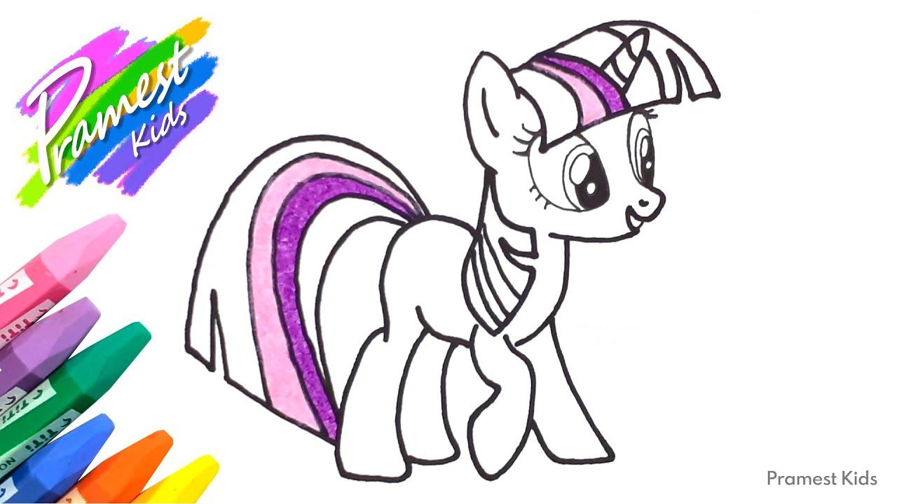 Menggambar Dan Mewarnai Kuda Poni Twilight Sparkle Dengan Crayon Youtube