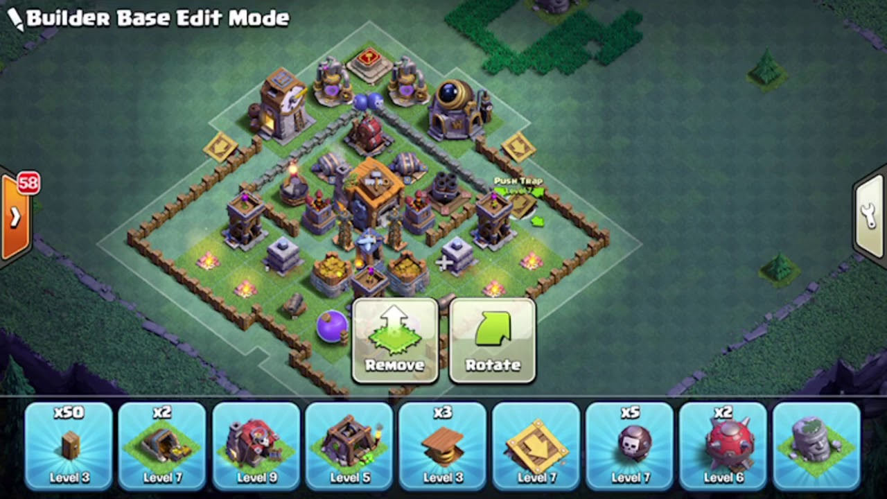 Builder Hall 7 Base Without Giant Cannon Youtube