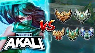 BEST AKALI NA (PROFESSOR AKALI) VS EVERY ELO! 1V5 NO RECALLL CHALLENGE! - League of Legends